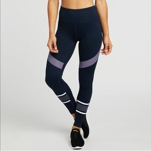 Lilybod x Soulcycle navy striped leggings